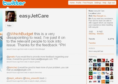 EasyJetCare Twitter account