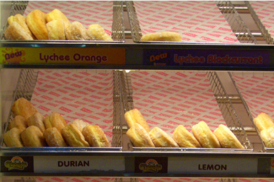Lychee Orange, Lychee Blackcurrant & Durian Dunkin Donuts: image via buzzfeed.com