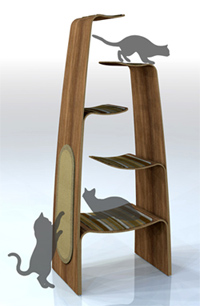 Cat climbers just keep getting more stylish as they offer more options to  your cat. The Everest, soon to