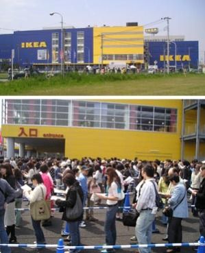 Crowds line up to enter IKEA's new store in Funabashi, Japan
