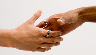Shaking hands will automatically tranfer info between rings.