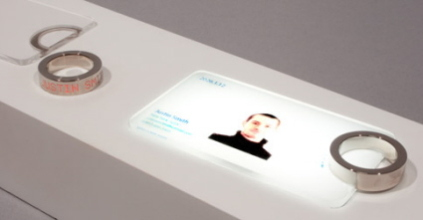 Place the ring at the designated spot on the digital business card to view database of people that you've met.