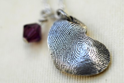 Fingerprint Heart Pendant for Mom