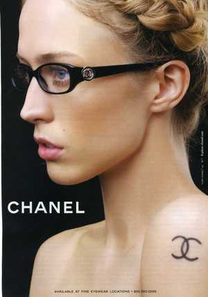 The ad, seen in Elle and Vogue, is for eye wear,