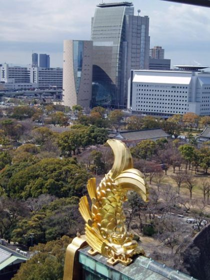 """Kinshachi"" on guard at Osaka Castle"