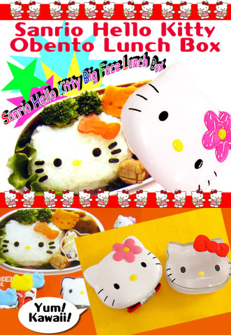 A reusable plastic lunch bento box that looks like Hello Kitty's head?