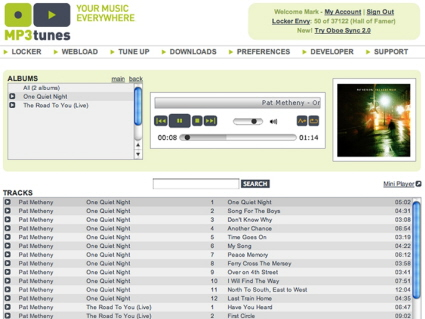 "Screenshot of the MP3tunes ""Locker"" screen"