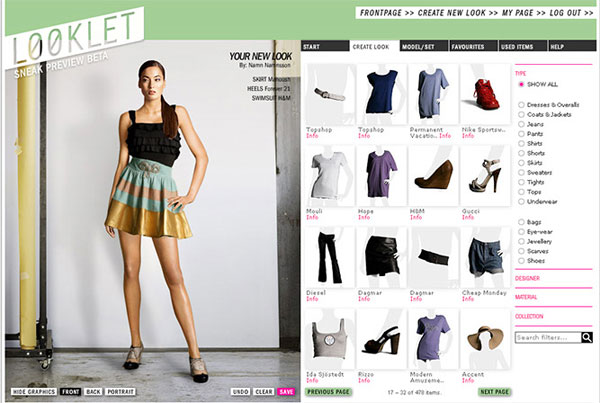 Looklet: Virtual Studio for Fashion Design With Designer Clothes