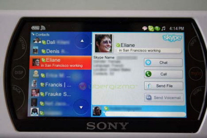 Skype application on the Sony Mylo 2