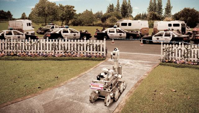 The Police Anti-Divorce Task Force employs a robot for dangerous missions.