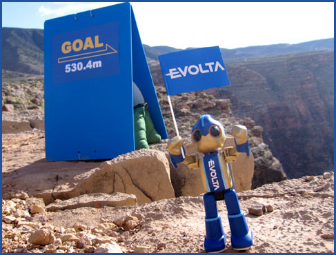 Evolta, triumphant after scaling the Grand Canyon