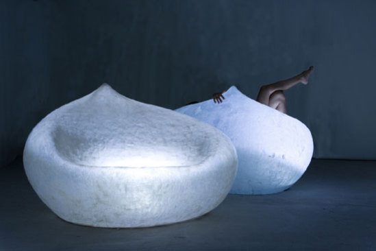 Lighted Drop Sofa Is A Fiberglass Sofa Upholstered In A Beautiful