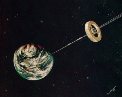 Artist's depiction of a space elevator