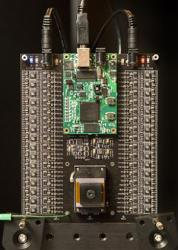 The testing platform for the multi-aperture image sensor chip. Credit: Stanford.