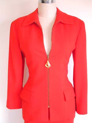 1970's Anne Klein orange wool suit