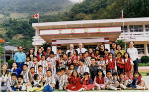 Investing in the future: Schoolchildren in front of the Canadian Trade Center in Taipei