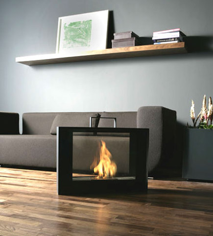 Conmoto's new Travelmate Portable Fireplace has romantic and practical features.