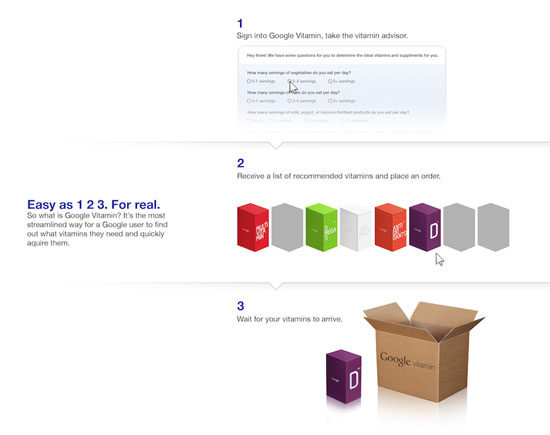Google Vitamin order page concept: Andrew Kim