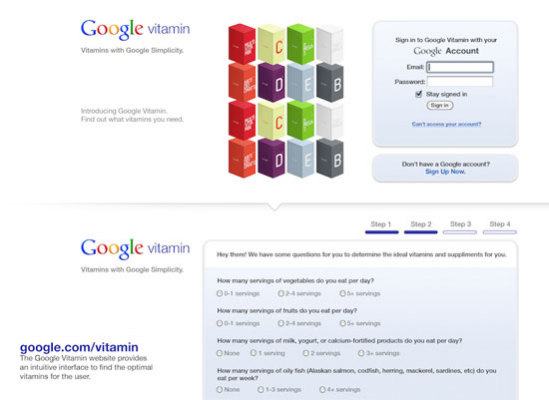 Google Vitamin sign on page: Andrew Kim