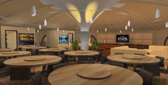 Vivos underground shelter, dining area: ©Vivos Group