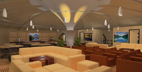 Vivos underground shelter, lounge and movie theatre: ©Vivos Group