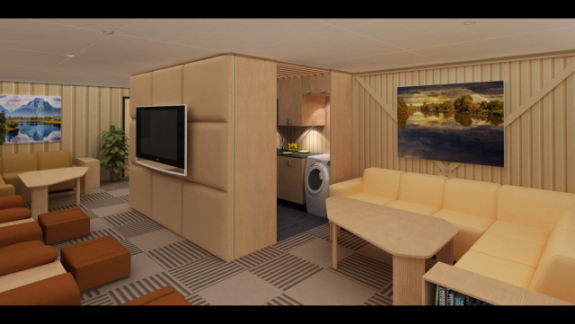 Vivos underground shelter, private living room area: ©Vivos Group