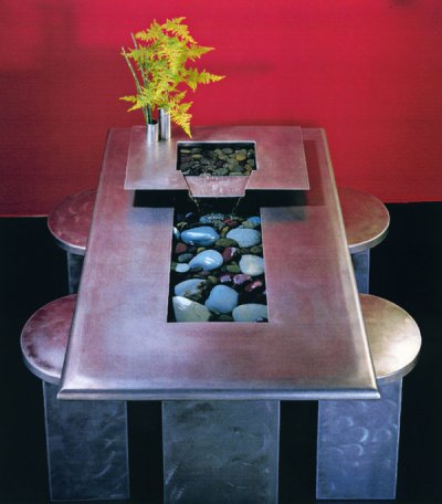 Nayer Kazemi Water View Floor Fountain Table And Benches