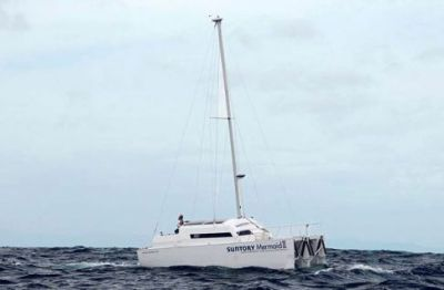 Mermaid II with mast raised