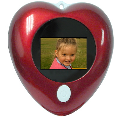 Heart-shaped digital photo frame fits on your keychain