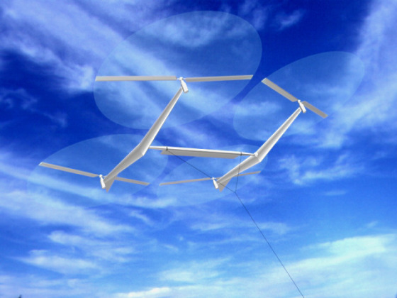 A Sky WindPower kite of turbines might capture wind energy with spinning rotors and send electricity to the ground through the wire that tethers it.