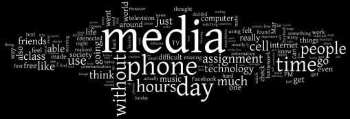 """Wordle"" on 110,000 words students wrote about their experience: Phillip Merrill College of Journalism, University of Maryland"